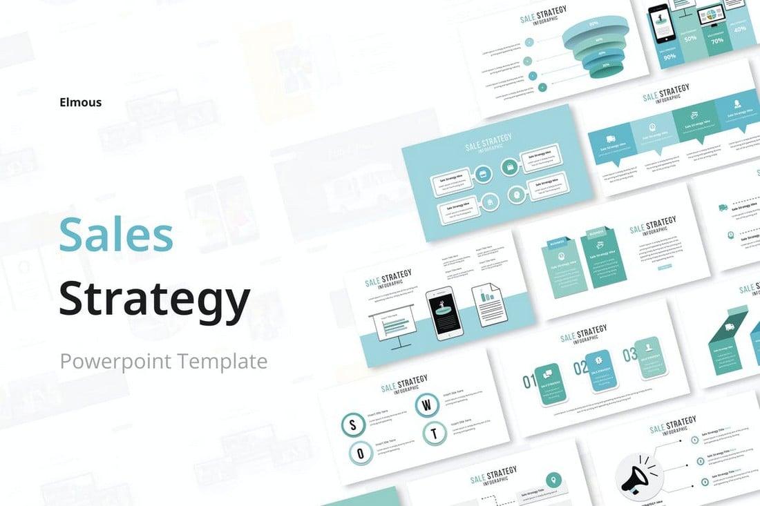 Templat Powerpoint Infografis Konsultasi Penjualan