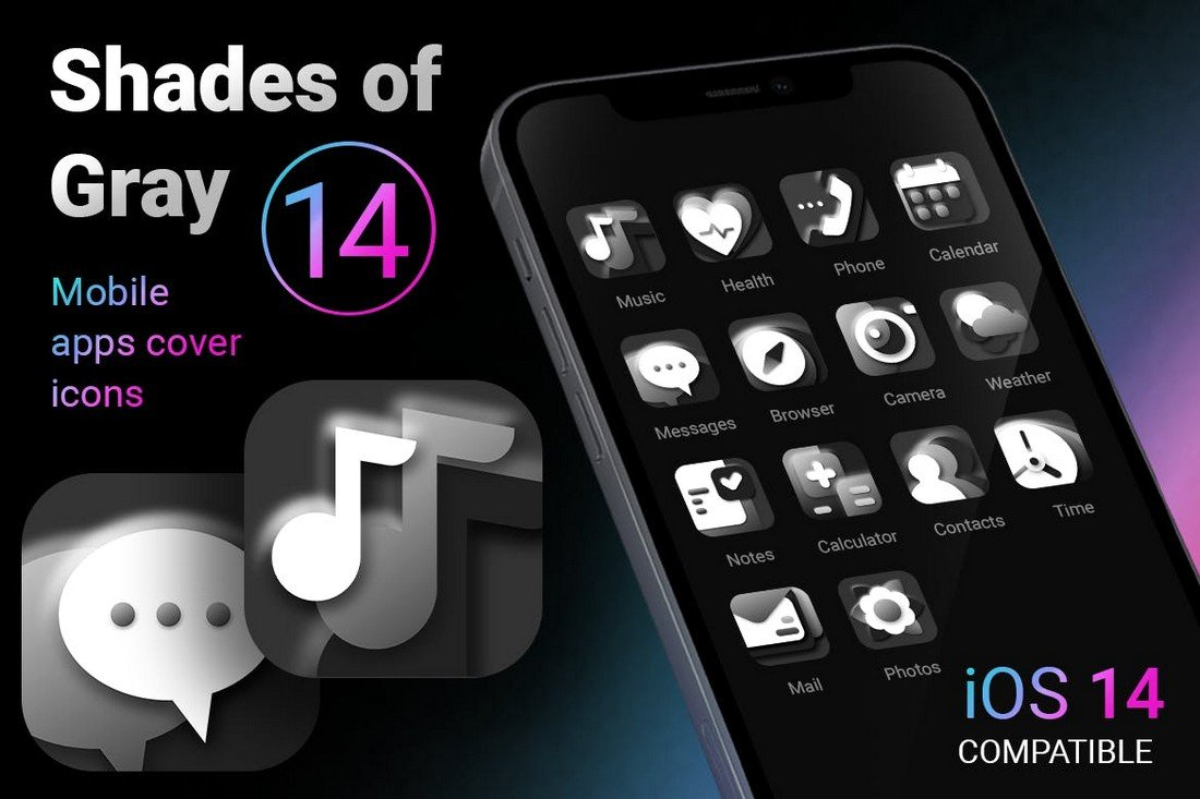 Shades of Gray iOS 14 App Icons Pack