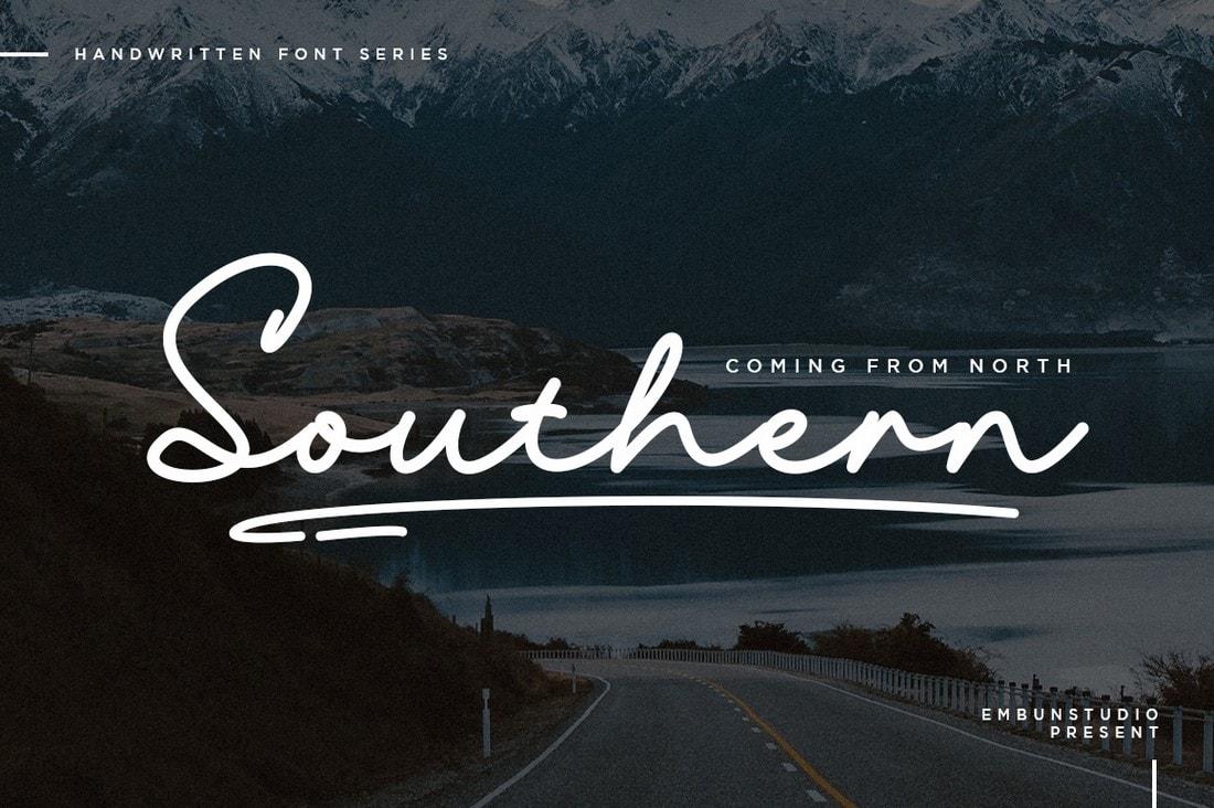 Southern - Free Handwritten Cursive Font