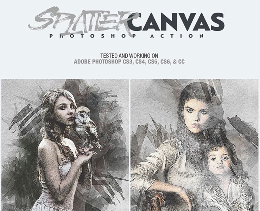 Splatter Canvas - Free Photoshop Action