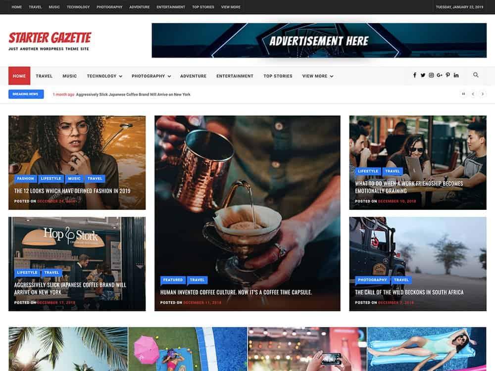 Starter Gazette - Free Magazine WordPress Theme