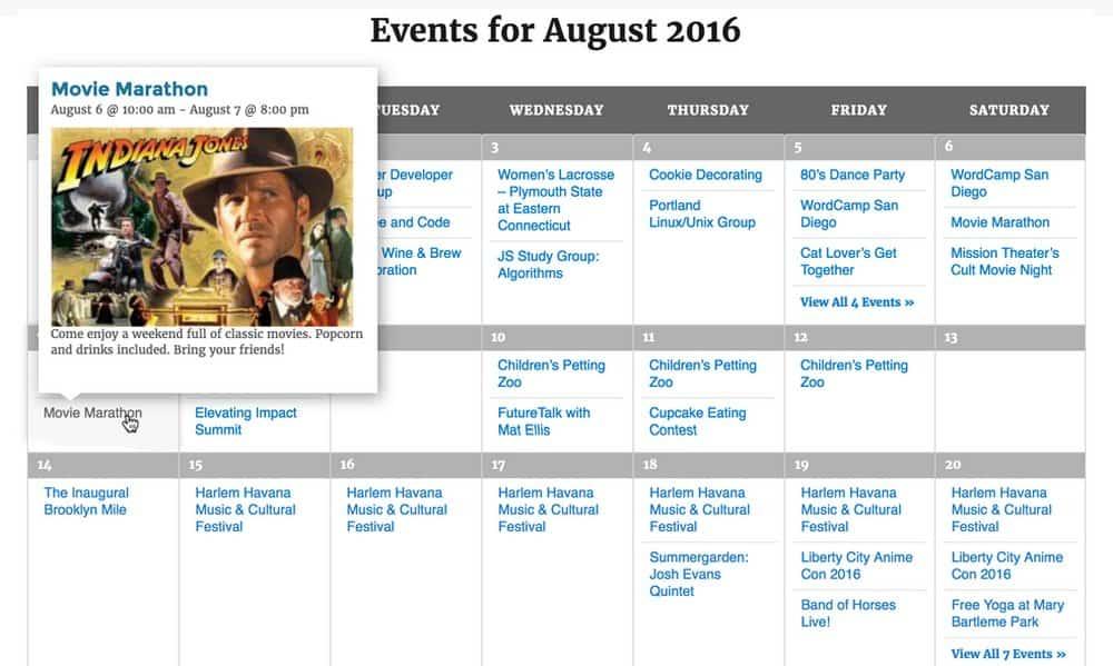The Event Calendar -2