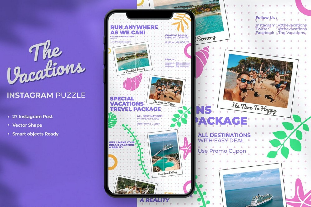 The Vacations Instagram Grid Puzzle Template
