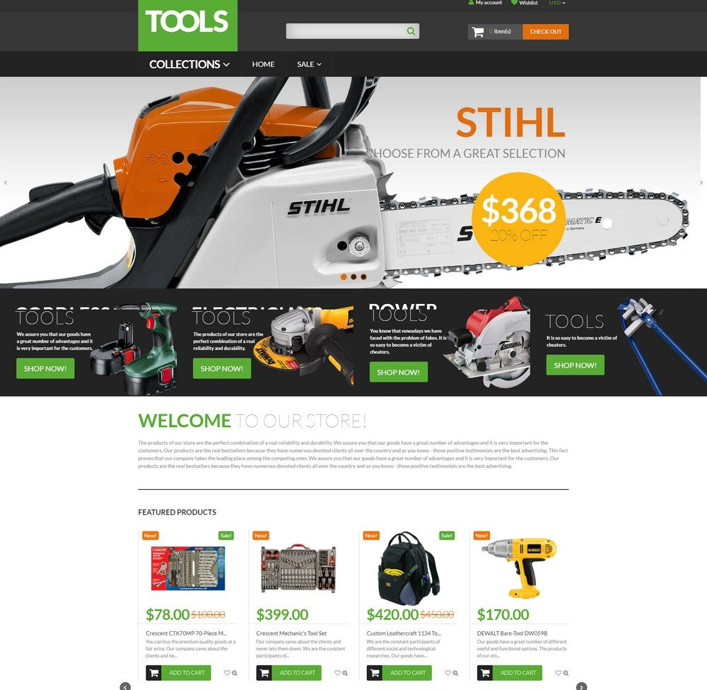 Tools free shopify theme