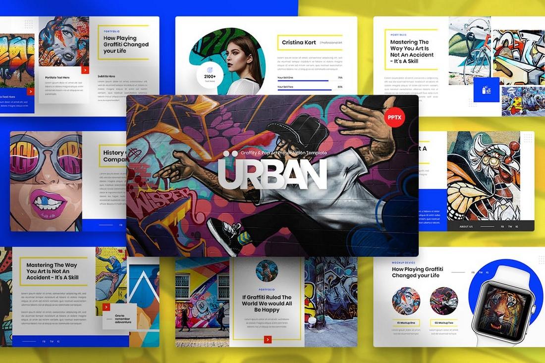 Perkotaan - Templat PowerPoint Graffiti & Pop Art