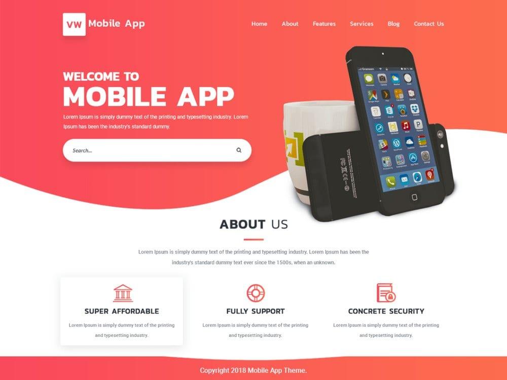 VW Mobile App-free-wordpress-theme