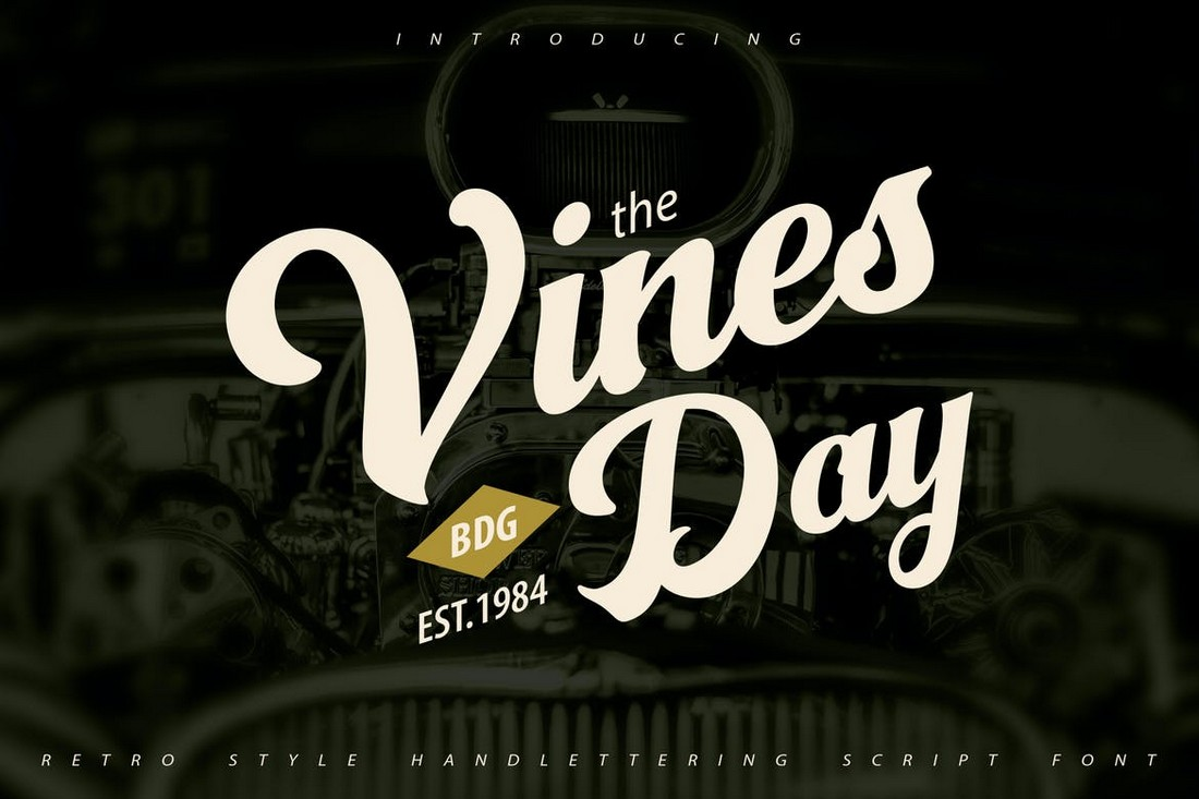 Vinesday - Retro Handlettering Script Font