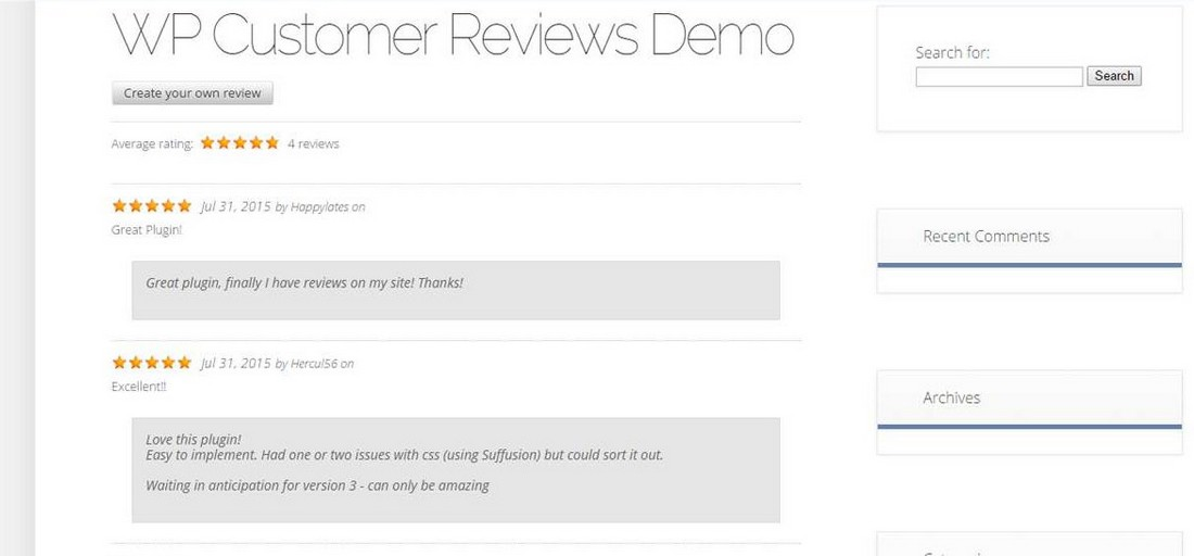WP Customer Reviews 2