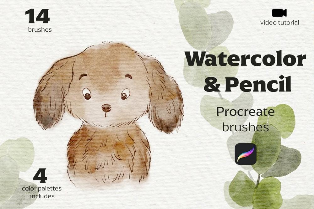 Watercolor & Pencil Procreate Brushes
