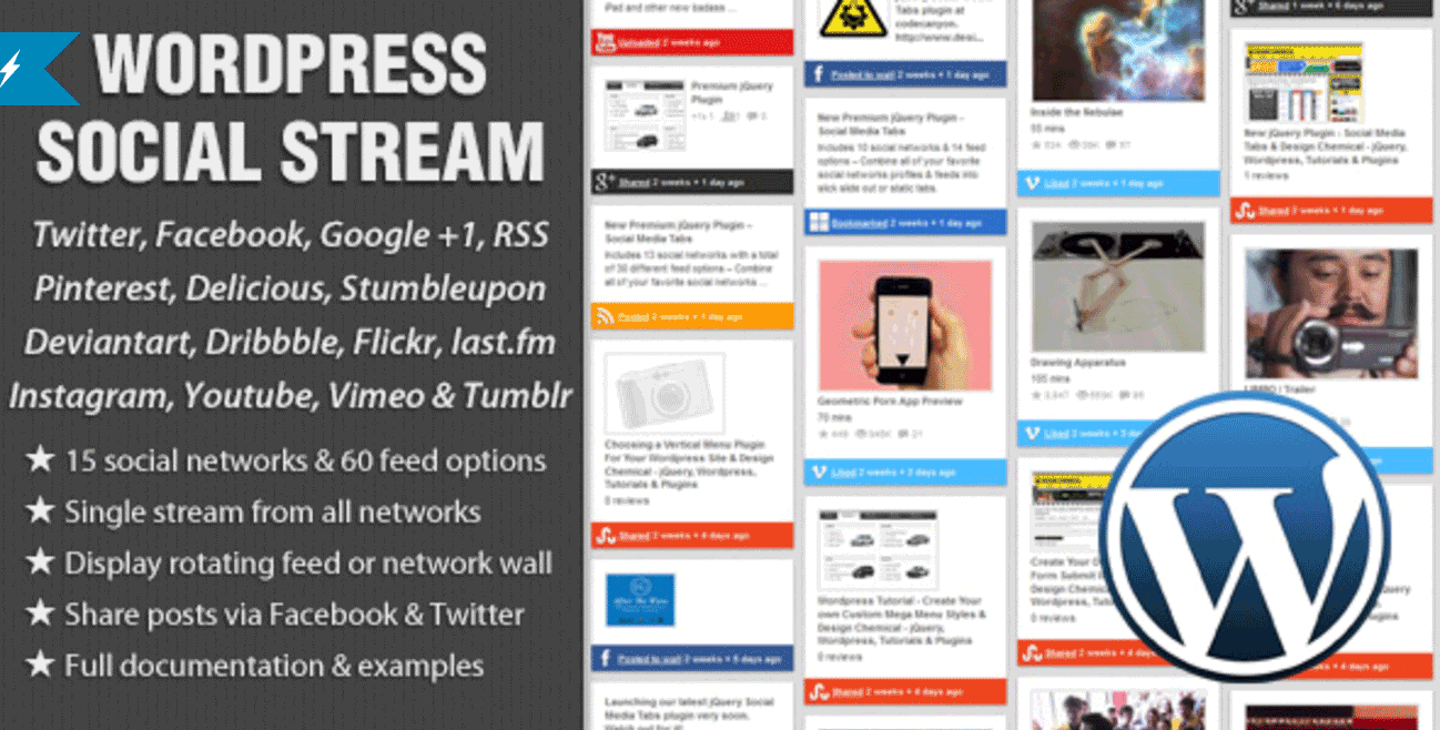 WordPress Social Stream Dribbble Pugin