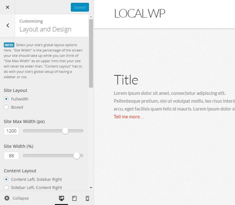 X WordPress Theme Review Customizer