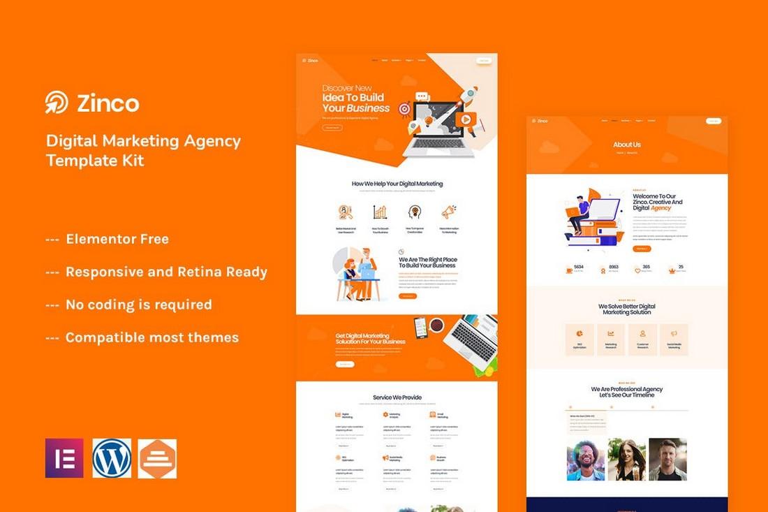 Zinco - Marketing Agency Elementor Template Kit