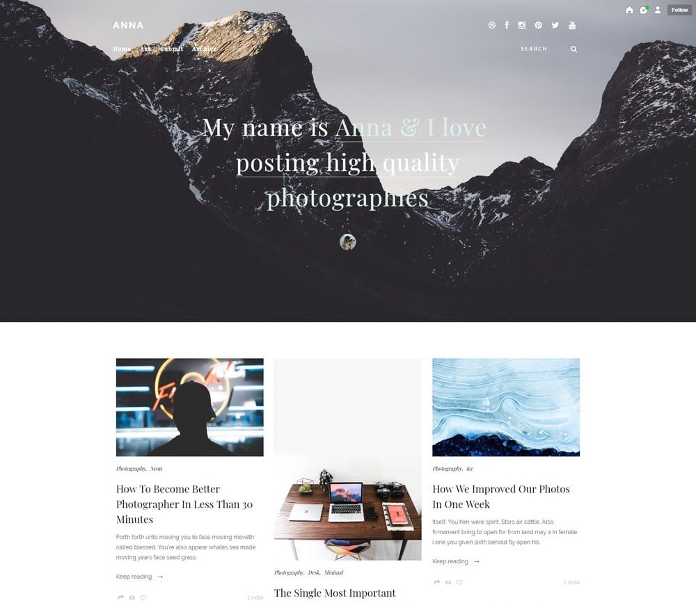 exceptional Tumblr Hipster Themes Part - 11: Anna u2013 Elegant Hipster Tumblr Theme