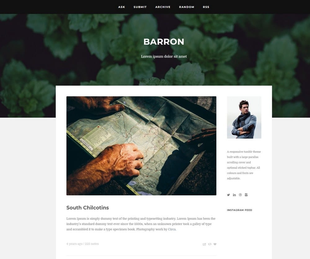 marvelous Tumblr Hipster Themes Part - 8: Barron u2013 Responsive Hipster Tumblr Theme