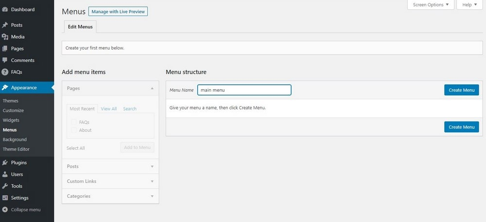 create menu in wordpress - 1