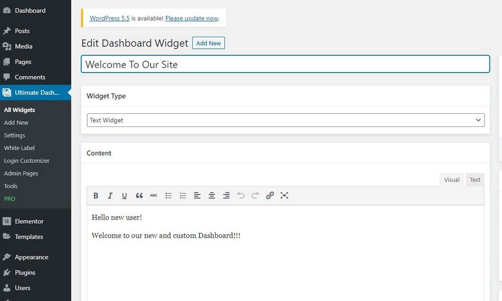 customize wordpress dashboard - add widget