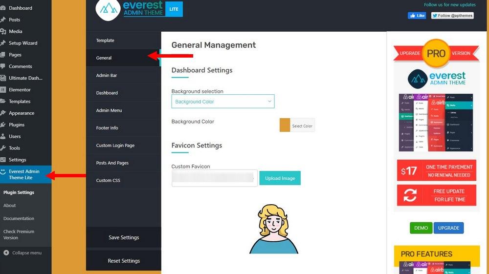 customize wordpress dashboard - change background color