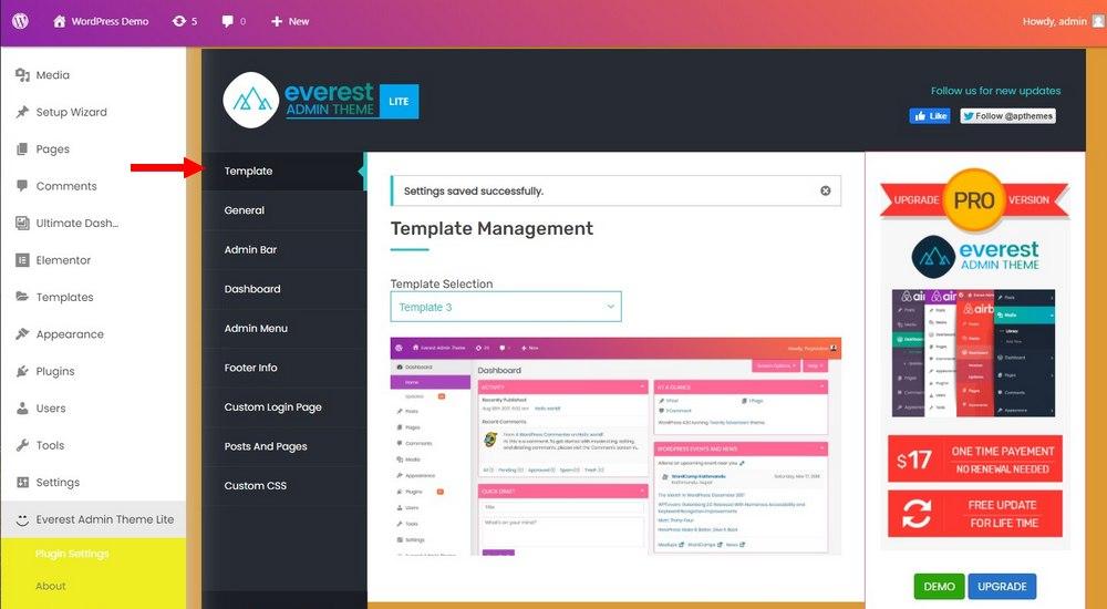 customize wordpress dashboard - change theme