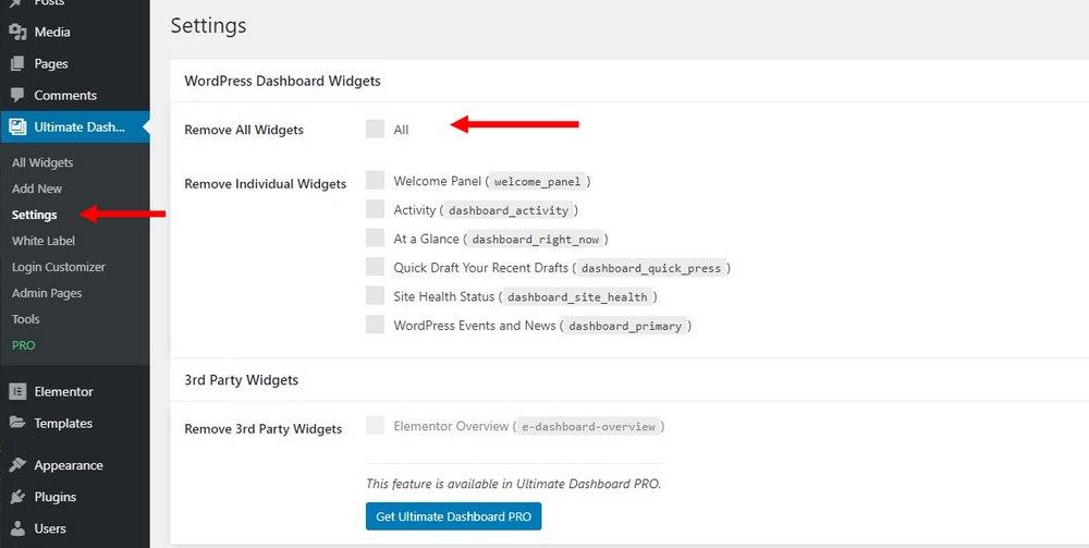 customize wordpress dashboard - remove widgets