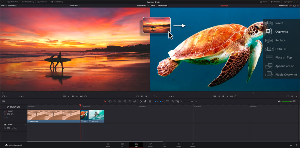 davinci resolve interface