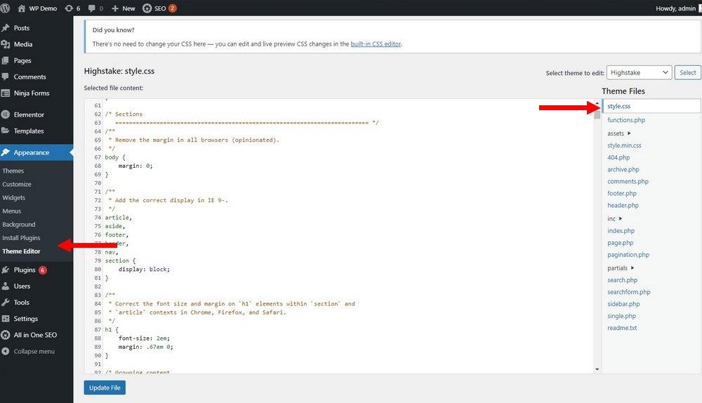 edit css di wordpress 1