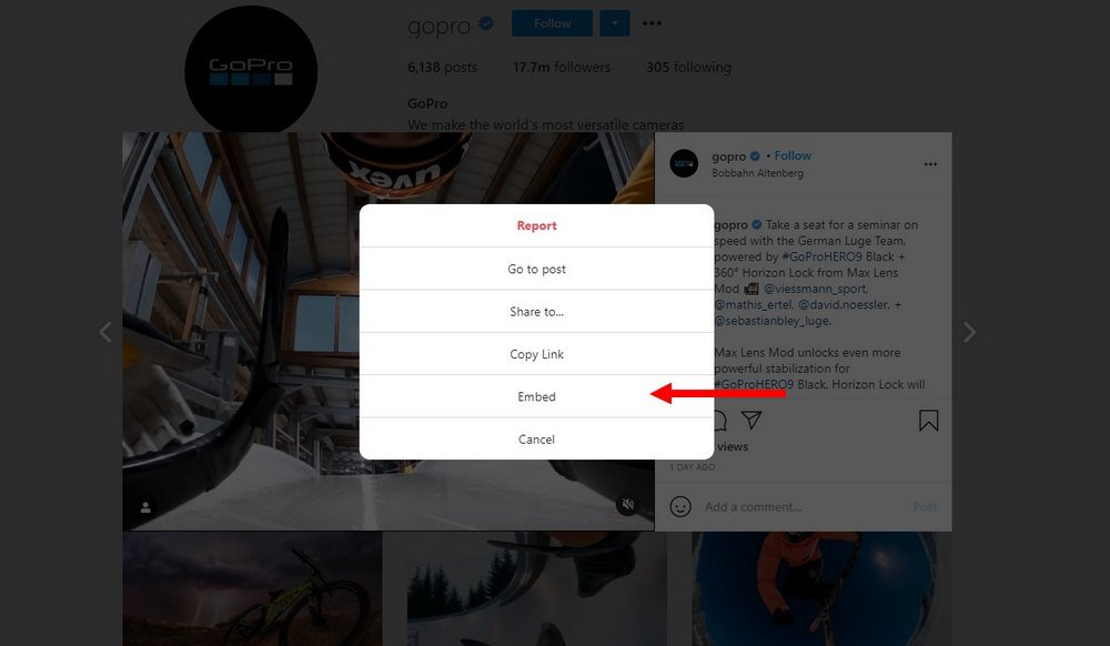 sematkan postingan instagram 2