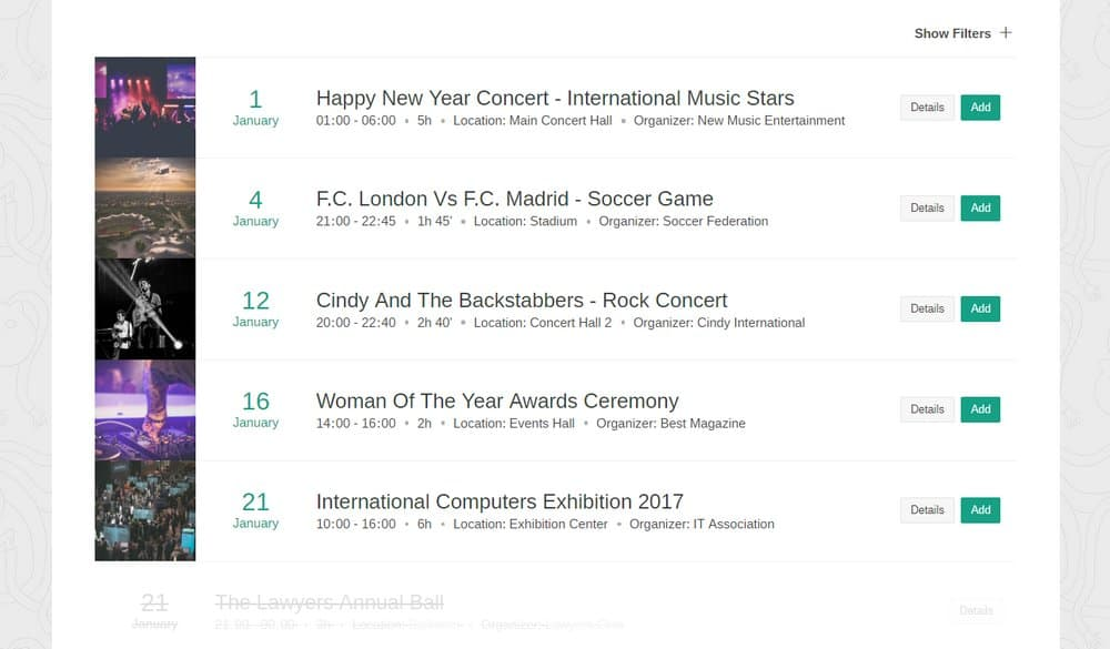 events schedule 2