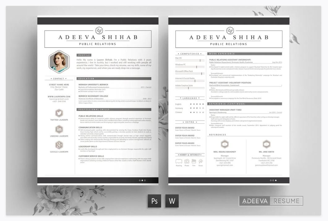 20 Best Free Resume Cv Templates For Word Psd Theme Junkie