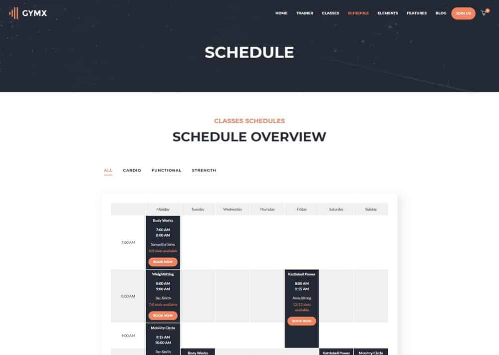 gym-website-schedule
