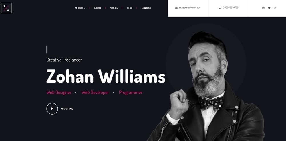 how-to-make-resume-website-header