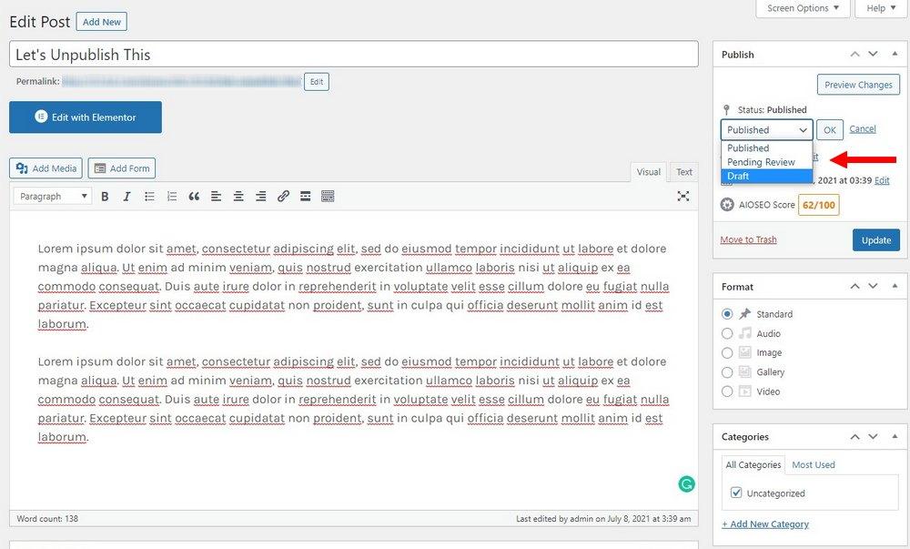 cara membatalkan publikasi posting atau halaman 2