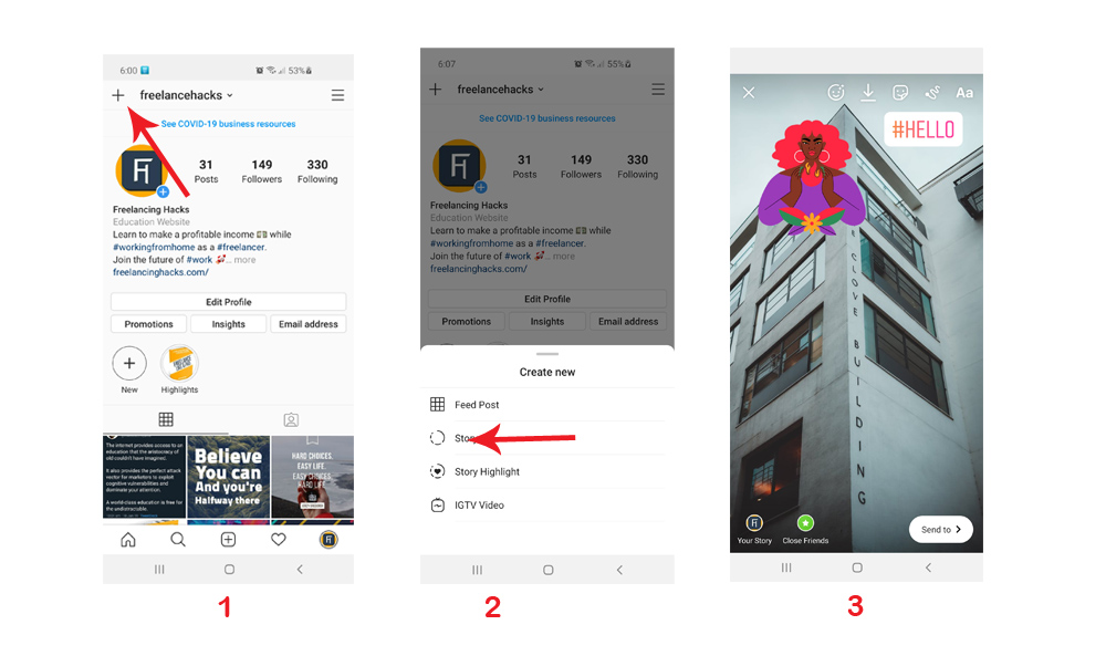 how to use instagram - create story