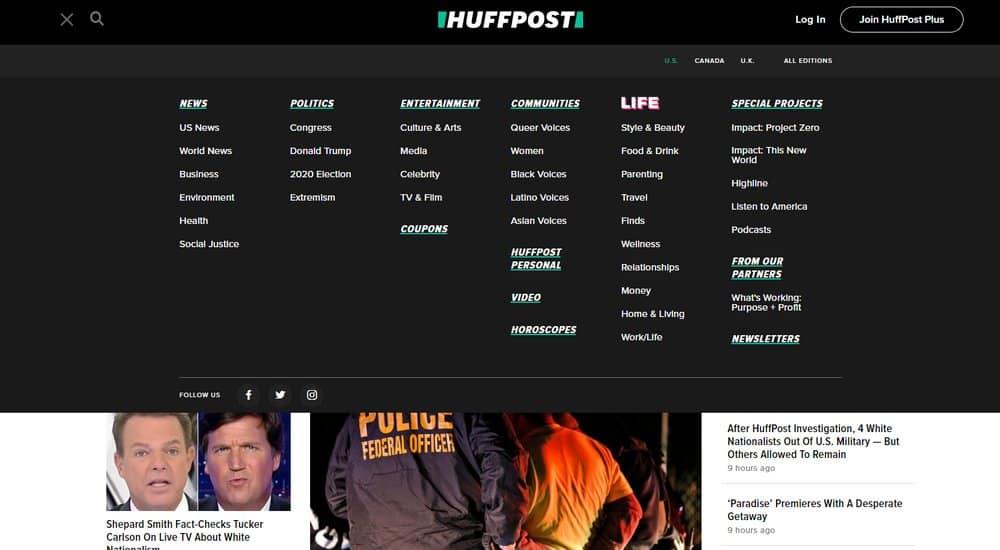 huffpost mega menu