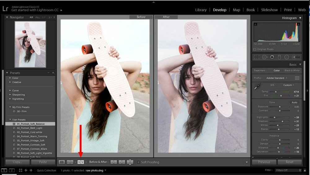 lightroom tips - before after