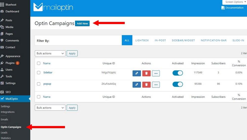 mailoptin create campaign 1