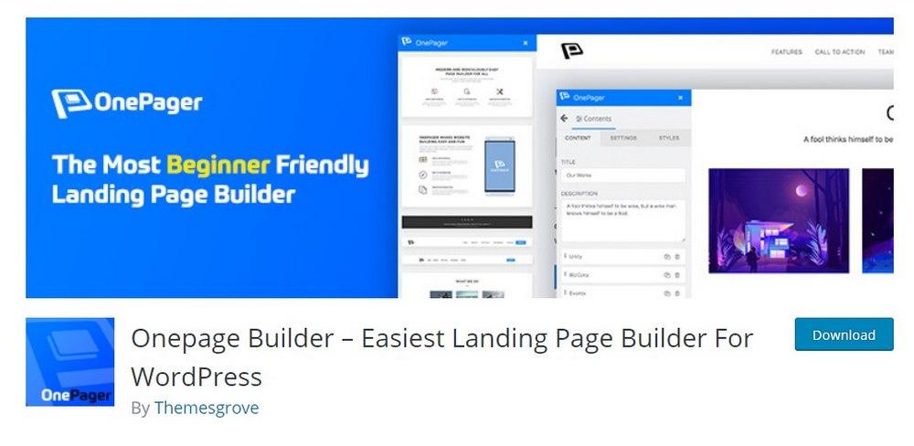 onepage builder plugin