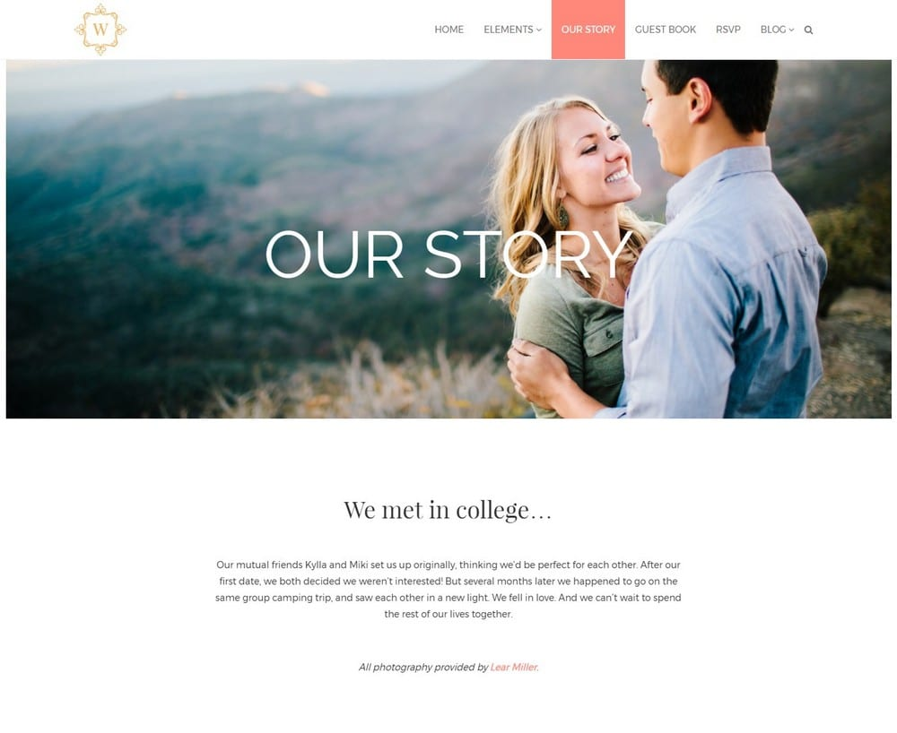 Example Wedding Events WordPress Theme