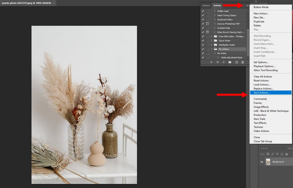 photoshop export action