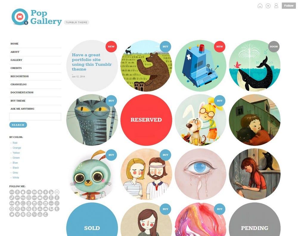 Pop gallery tumblr portfolio theme
