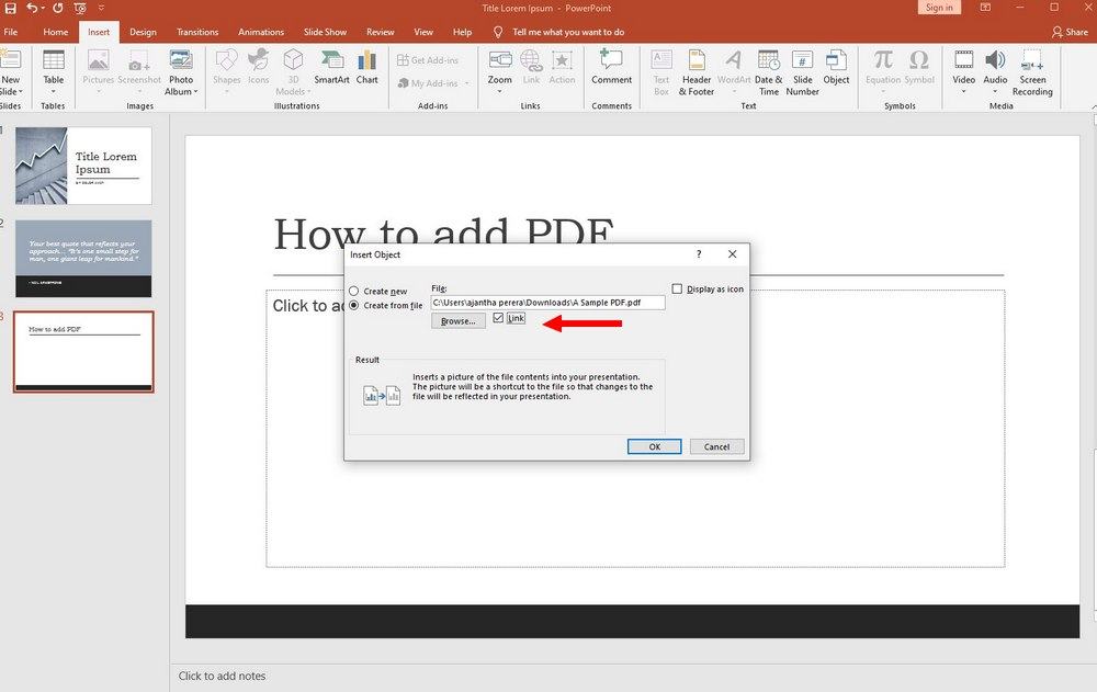 powerpoint - add pdf