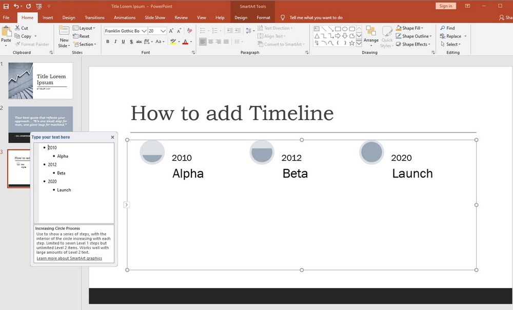 powerpoint - add timeline 2