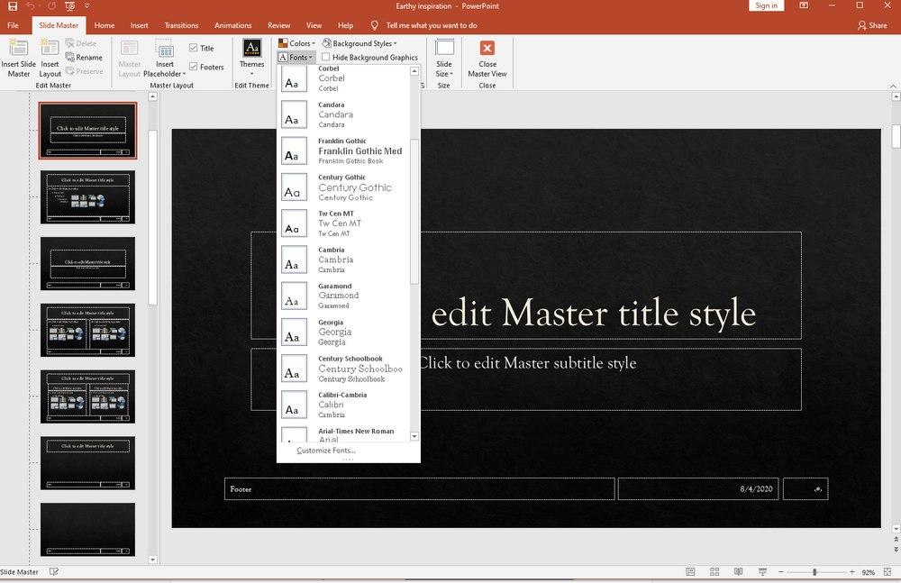 powerpoint change default font