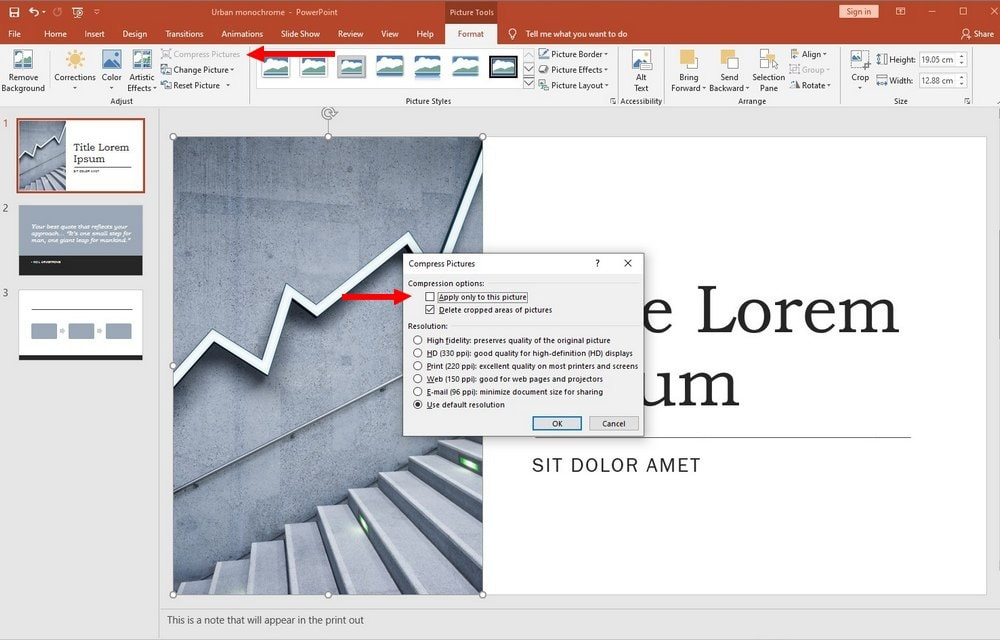 powerpoint guide - compress images