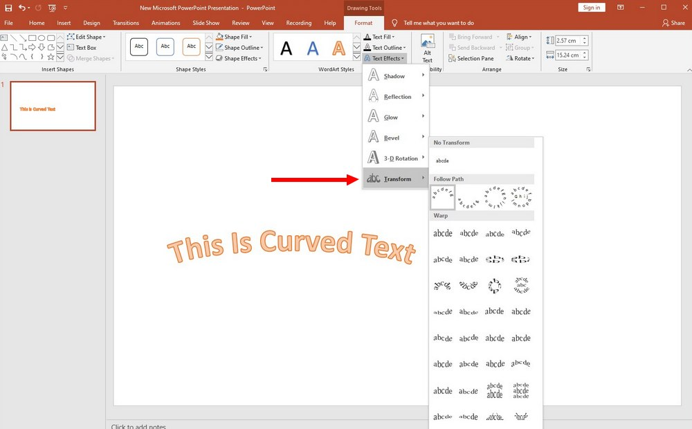 powerpoint guide - curve text 2