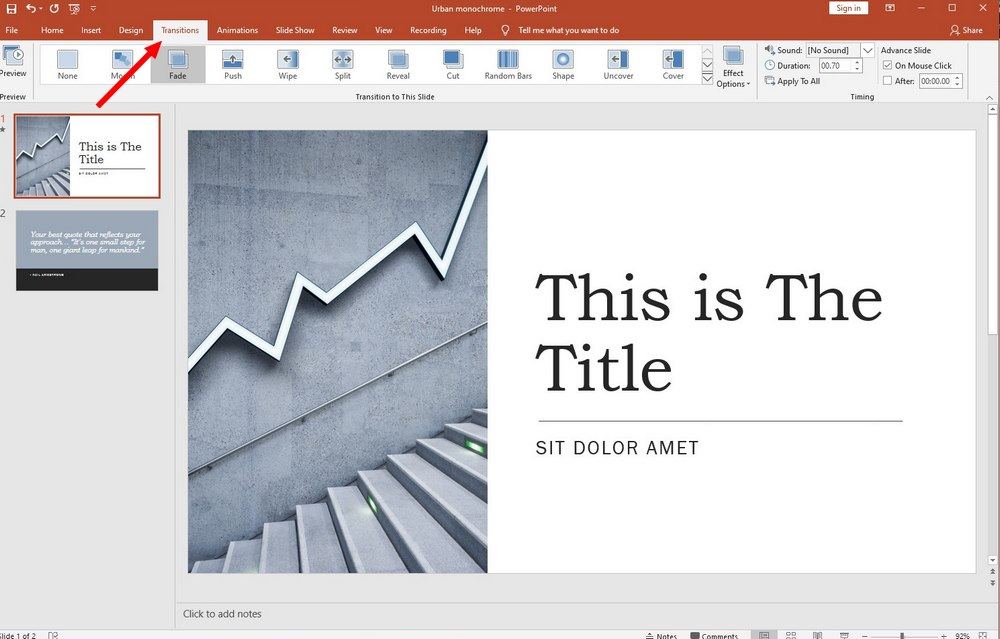 powerpoint guide - transitions