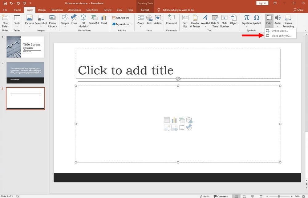 powerpoint guide - video embed PC