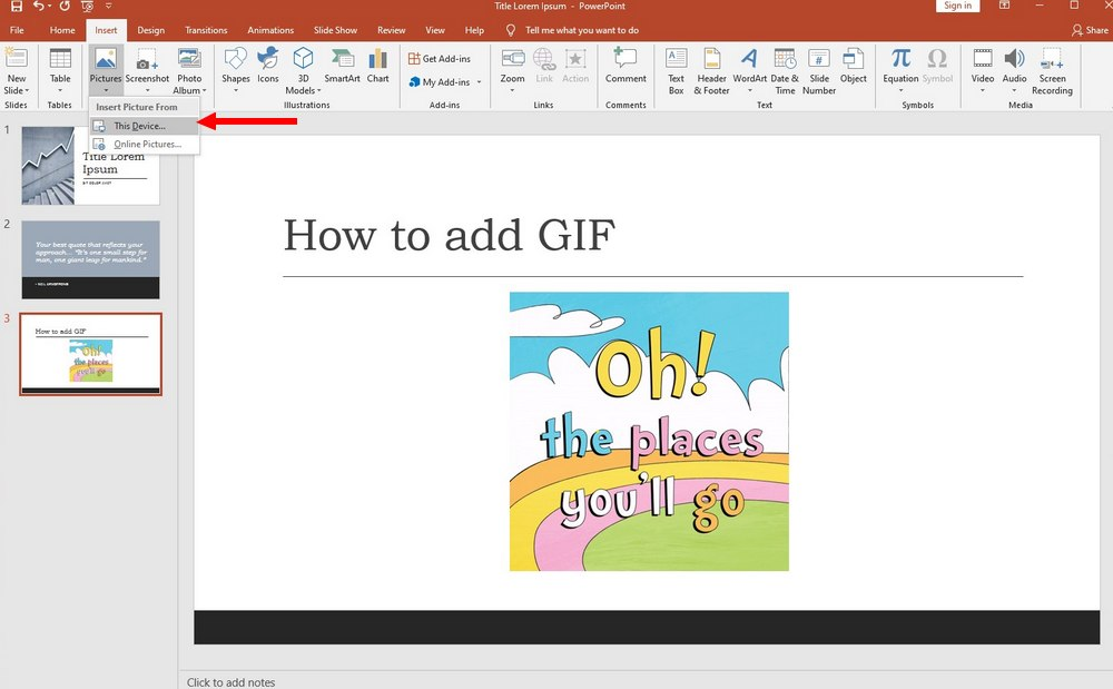 powerpoint - how to add gif