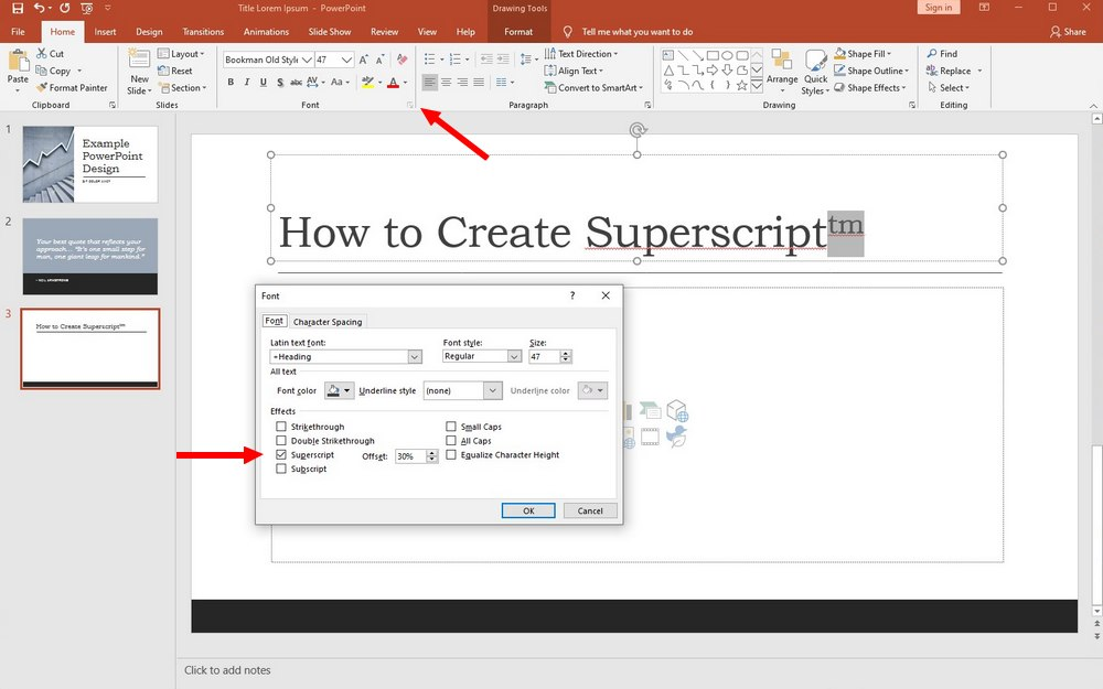 powerpoint - superscript