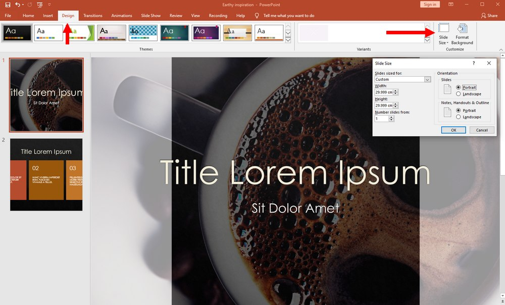 powerpoint vertical slide