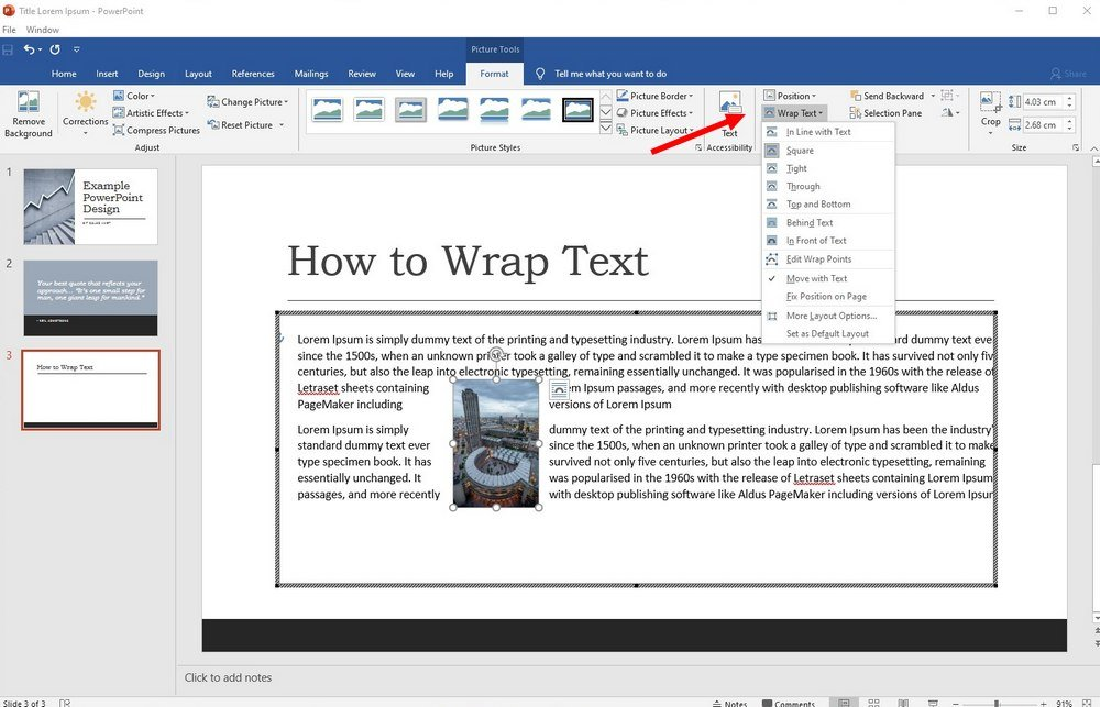 powerpoint - wrap text 2